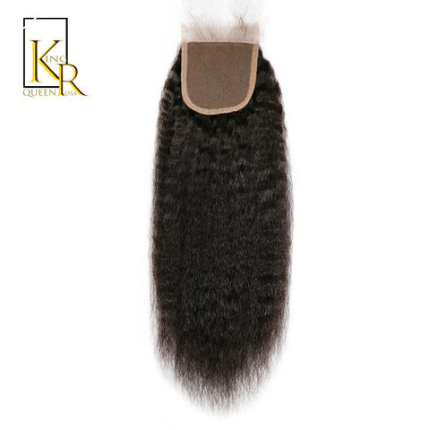 Cool Kinky Straight Closure Brazilian Remy Human Hair Lace Closure Free Part 100% Hand Tied Plucked With Baby Hair King Rosa QueenAT_93_12