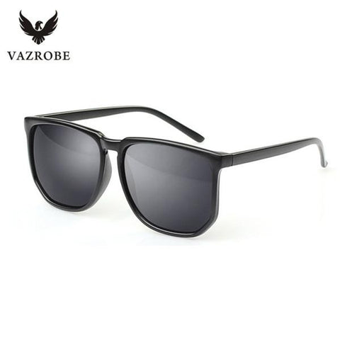 Vazrobe Black designer men's sunglasses woman cheap sun glasses for men women silver mirrored goggles UV400 2017 flat top shades