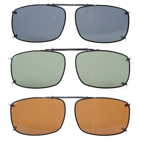C60 Mix Eyekepper Grey/Brown/G15 Lens 3-pack Clip-on Polarized Sunglasses 58x38 MM