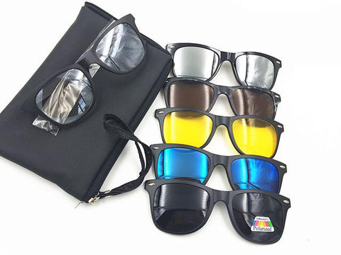 New 5 in 1 Polarized Magnetic Sunglasses Clip TR90 Retro Frame Eyewear Night Vision Driving Optical Glasses With Bag
