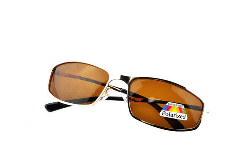 Small rectangle GOLD mens Polarized Light brown sunglasses UV400 polaroid polarised sport driving Outdoor designer sun glasses