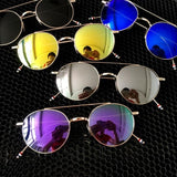 2016 Retro Men Women Vintage Retro Round Reflective Eyewear Steampunk Metal Sunglasses Oculos De Sol J2