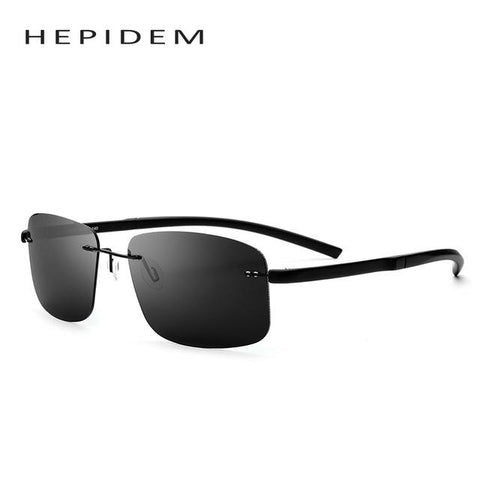 HEPIDEM Frameless Squared HD Polarized Sunglasses Men Brand Designer Rimless Sun Glasses for Men Tr90 Driving Fish Sunglass 8206