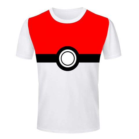 Pokemon Pokeball T Shirt Rock Band White Tee size S-4XL Men T-Shirts O Neck short sleeve 3D Tees Tops Euro Size clothes - Animetee - 2