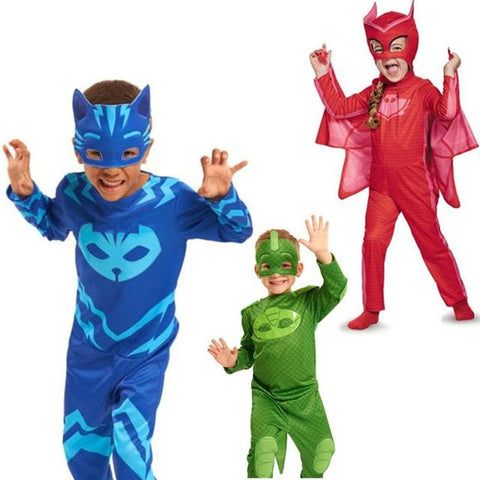 cosplay costume kids birthday pj mask skin tight spandex suit two owlette cape halloween costume childs