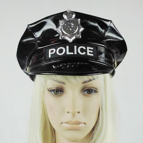 bca9f2e52 Men and Women Badge Octagonal Leather Police Hat Black Captain Flat Top  Stage Performance Military Caps