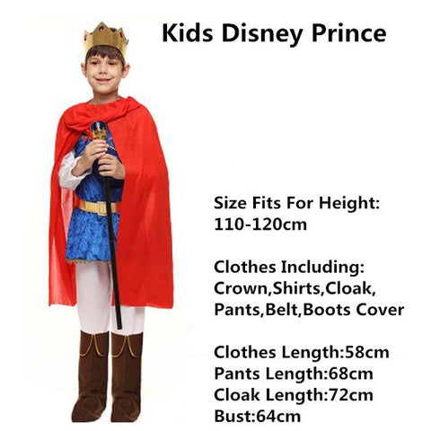 2017 Cool Children Boys Prince Cosplay Costume For Kids Stage Performance  Cosplay Props Halloween Fancy Dress Party Supplies