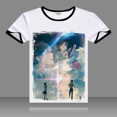 T Shirts Kimi No Na Wa Cosplay Black O Neck Short Sleeve Costumes