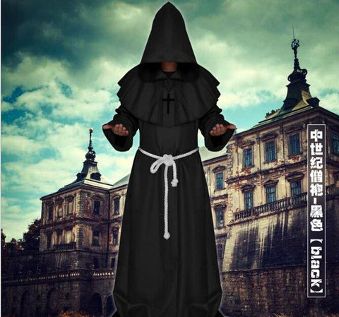 Medieval Cosplay Gown Renaissance Monk Costume Cowl Friar Clothing Priest  Hooded Robe Cloak Cape Cosplay