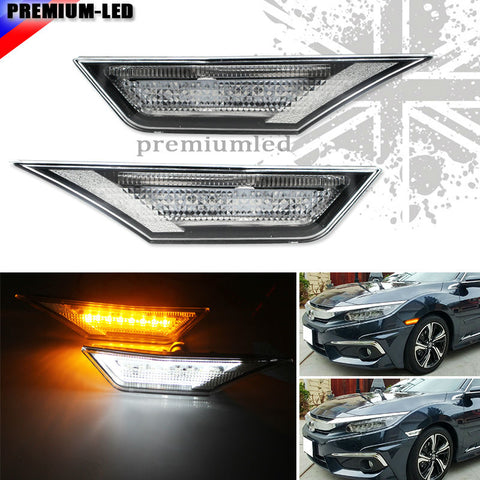 (2) Amber and white LED Lights w/ OEM JDM Clear White Lens Side Marker Lamps For 10th Gen Honda Civic Sedan/Coupe/Hatchback