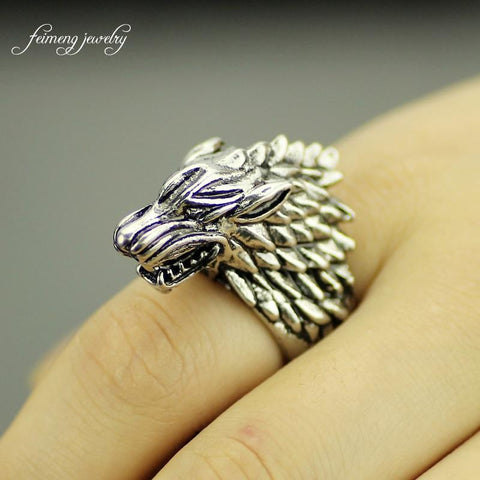 Winter Game of Thrones GOT feimeng jewelry  The wolfhead gothic punk ring men's jewellery  cool accessories Size 8 to 9 AT_77_7