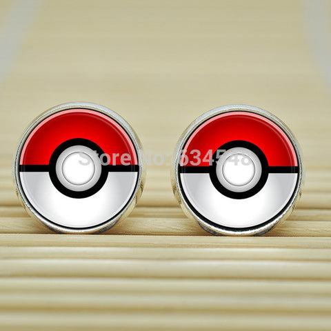 1pair Pokemon Pokeball Earrings jewelry glass Cabochon Earrings B3148 - Animetee - 1