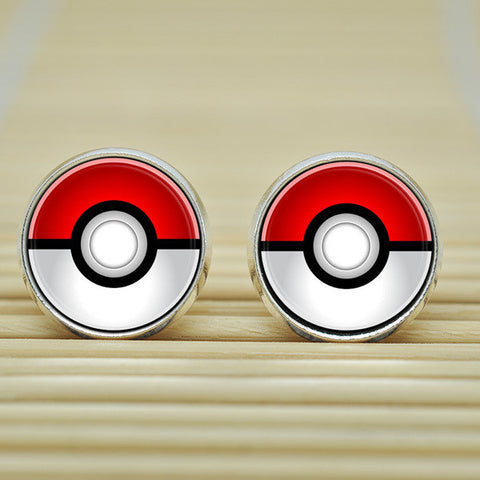 1pair Pokemon Pokeball Earrings jewelry glass Cabochon Earrings B3148 - Animetee - 2