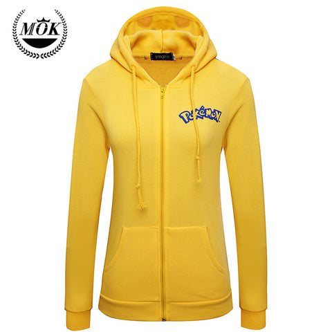 2016 Autumn Jacket Women Solid Sudaderas Mujer New Pokemon Face Pikachu Totoro printing Costume Tail Zip Hoodie Sweatshirt - Animetee - 1