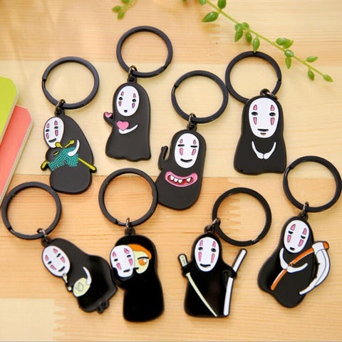 1 PC High Quality Creative Cartoon Spirited Away Faceless Men Keychain Key Rings Study Key Chains Girl Friend Gift 8cm Key Chain