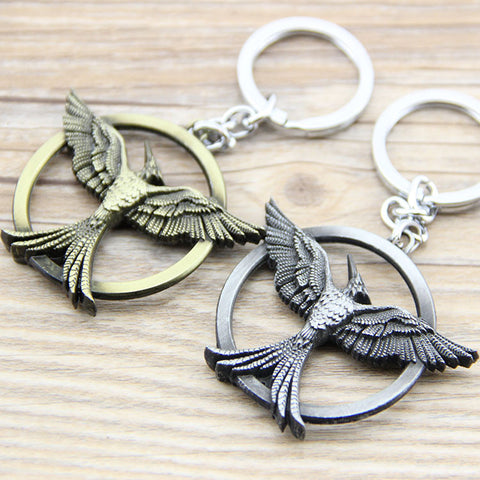 1PCS New Arrival Movie the Hunter Game Hungry Bird Shape Round Metal Keychain Pendant Key Chain Chaveiro Key Ring hwd - Animetee - 1