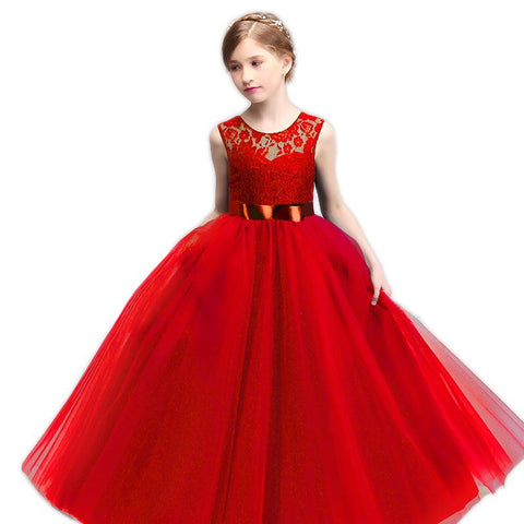 2fdc743a402 New Lace Flower Girl Wedding Birthday Dress Children Graduation Prom Gown  Tulle Kids Party Costume Teenage ...