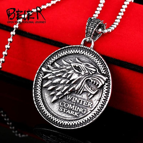 Winter Game of Thrones GOT Beier 316L Stainless Steel  Stark Targaryen Lannister pendant necklace vintage fashion men jewelry BP8-150 AT_77_7