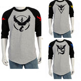 2016 Hot Pokemon Go Team Valor Team Mystic Team Instinct Pokeball O Neck Splice T-Shirt Red Blue Yellow Top - Animetee - 1