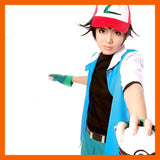 2016 Hot Pokemon Go High Quality Blue Ash Ketchum Trainer Poke Ball Cosplay Costume Jacket Gloves Hat Ash Ketchum Costume - Animetee - 1