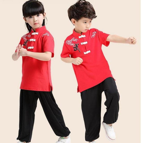 Children Short Sleeve Wushu Costume Uniform Kung Fu Suit for Kids Boys  Girls Stage Performance Clothing Set