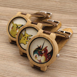 Bobobird E8 Mens Montopia Pokemon Colorful Faces Design Brand Luxury Wooden Bamboo Watches With Real Leather Bands in Gift Box - Animetee - 1