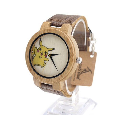 Bobobird E8 Mens Montopia Pokemon Colorful Faces Design Brand Luxury Wooden Bamboo Watches With Real Leather Bands in Gift Box - Animetee - 2