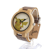Bobobird E8 Mens Montopia Pokemon Colorful Faces Design Brand Luxury Wooden Bamboo Watches With Real Leather Bands in Gift Box - Animetee - 6
