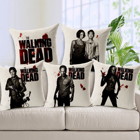 45X45cm The Walking Dead Decorative Throw Pillows Case Linen Cotton Cushion Cover Creative Decoration for Sofa Car Covers - Animetee - 1