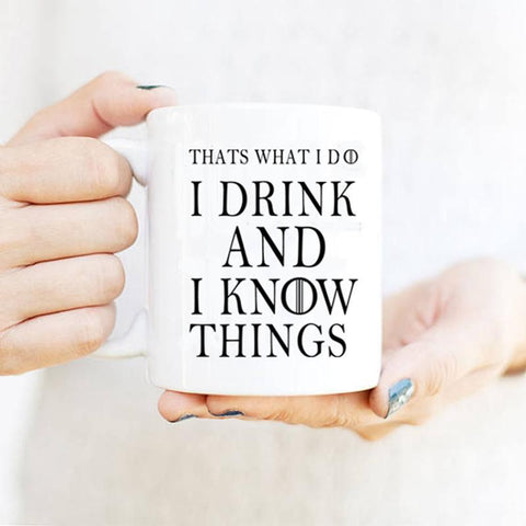 Winter Game of Thrones GOT That'S What I Do I Drink And I Know Things Mug Tyrion Lannister  Cfee Mugs Tea Cups Porcelain Wine Beer Drinkwa AT_77_7