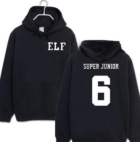 2016 new arrival kpop super junior sj elf black hoodies for fans casual pullover sweatshirts plus size Men Women polerones