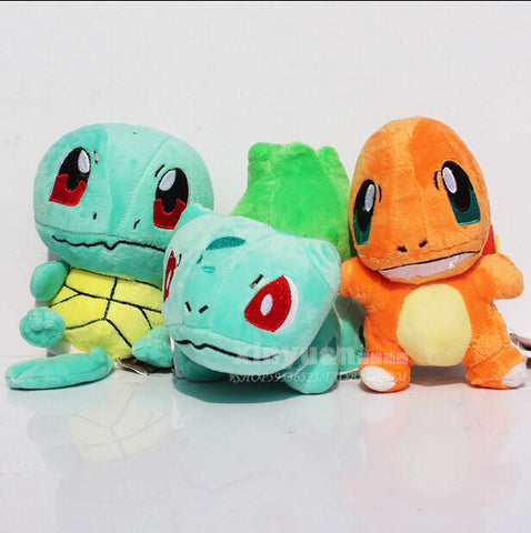 3pcs/Lot Newest POKEMON Plush Figure Doll Collectible Bulbasaur Charmander Squirtle Plush Toy Baby Toy Children's Day Gift - Animetee