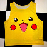 2016 Summer Pokemon fashion  Women Crop Top Sleeveless Cartoon Squirtle Pikachu Vest Casual Camis - Animetee - 13