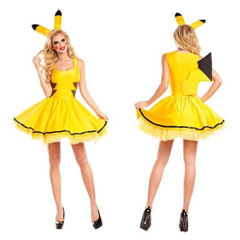 2017 New Naruto  Pikachu Costumes Women Cosplay Halloween Costume For Christmas Party Dress Adult Animal Sexy ClothingKawaii Pokemon go  AT_89_9