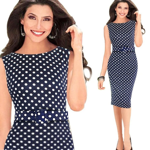 c9d834fb56607 Oxiuly 5XL Vintage Sheath Dot Sleeveless Puff Natural Wear to Work Business  Office Knee-length Stretch Fitted Pencil Dress