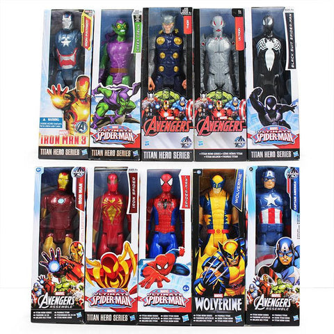 30cm Marvel Super Heros The Avengers Thor Iron Man Spider Man Captain American Wolverine PVC Toy Action Figure Model With Box - Animetee - 1