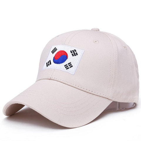 100% Cotton New Korea Flag Ulzzang Harajuku Embroidery Hip Hop Dad Hat Snapback Hat For Men Women Baseball Cap Hot Sale