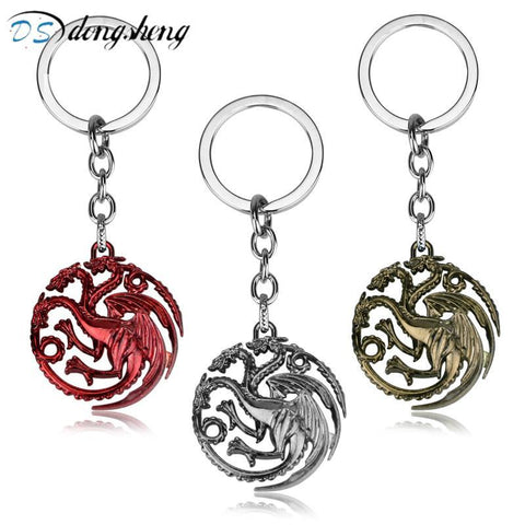 Winter Game of Thrones GOT dongsheng  Keychain Daenerys Targaryen Badge Dragon Alloy Keyring Song  Ice And Fire Key Chain Ring Chaveiro-30 AT_77_7