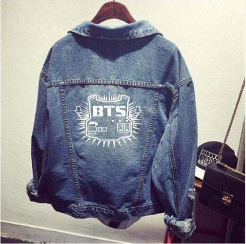 Trendy bts kpop clothes Shirt denim jacket hole coat female Baseball k-pop bts Bangtan Boys uniform Hoodie Outerwears tops Sweatshirts AT_94_13