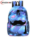 Galaxy Stars Universe Space printing canvas backpack School bag Women mustache Backpacks bag mochila free shipping L4-90