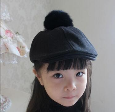 ... 2016 New Children Winter Hats Wool Berets For Kids Warm Flat Caps with  Cute Rabbit Fur ... c7da42ef9aa