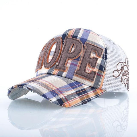 449d9c54 ... New Embroidery Hope Dad Mesh Hats Vent Snapback Baseball Caps Curved  Bill Fitted Striped Visor Hat ...