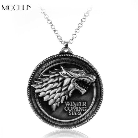 Winter Game of Thrones GOT MQCHUN Jewelry  necklace House Stark Winter Is Coming Wolf Head Round Pendant Necklace Christmas Collar Souvenir AT_77_7