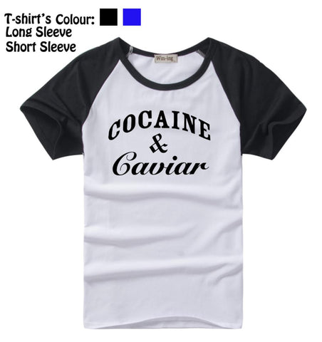 Cocaine And Caviar Crooks and Castles LIL Wayne Design Pattern Long Short Sleeves T-Shirt Men's Boy's Tops Black or Blue Sleeves msc - Animetee - 1
