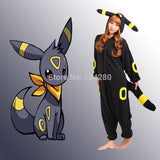 2016 Women Men Halloween Party Pokemon Umbreon Espeon Onesies Costume Cartoon Cosplay Pajama Pyjama Tracksuit All in one Fleece - Animetee - 1