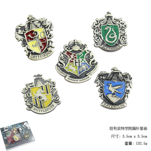 5pcs/set Harry Potter Metal Brooch Cosplay Badge Ravenclaw Hogwarts Slytherin Hufflepuff 2 Colors hwd - Animetee - 1