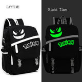 Free Shipping New Fashion sac a dos Noctilucent Pokemon Backpack Boy Girl School Bags For Teenagers Gengar Bag Canvas Backpacks - Animetee - 2