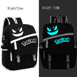 Free Shipping New Fashion sac a dos Noctilucent Pokemon Backpack Boy Girl School Bags For Teenagers Gengar Bag Canvas Backpacks - Animetee - 3