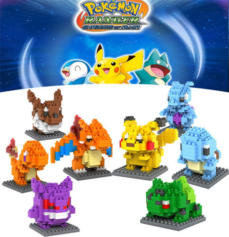 1PC Pokemon Figures Model Toys Pikachu Charmander Bulbasaur carte pokemon Child pokemon figures Anime Building Blocks - Animetee - 1