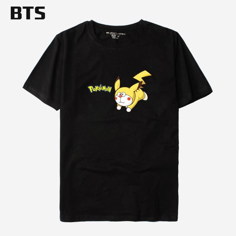 BTS  Cartoon T-shirt Men Cotton Breathable Anime Pocket Monster Tshirt Men Hip Hop Short Sleeve Tee Shirt MenKawaii Pokemon go  AT_89_9